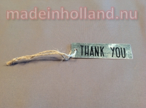 Zinken label THANK YOU 7x2 cm